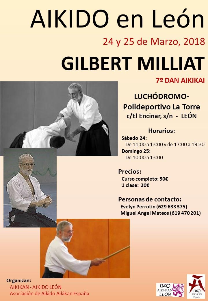 Curso de aikido con Gilbert Millat.  León 24,25 marzo 2018