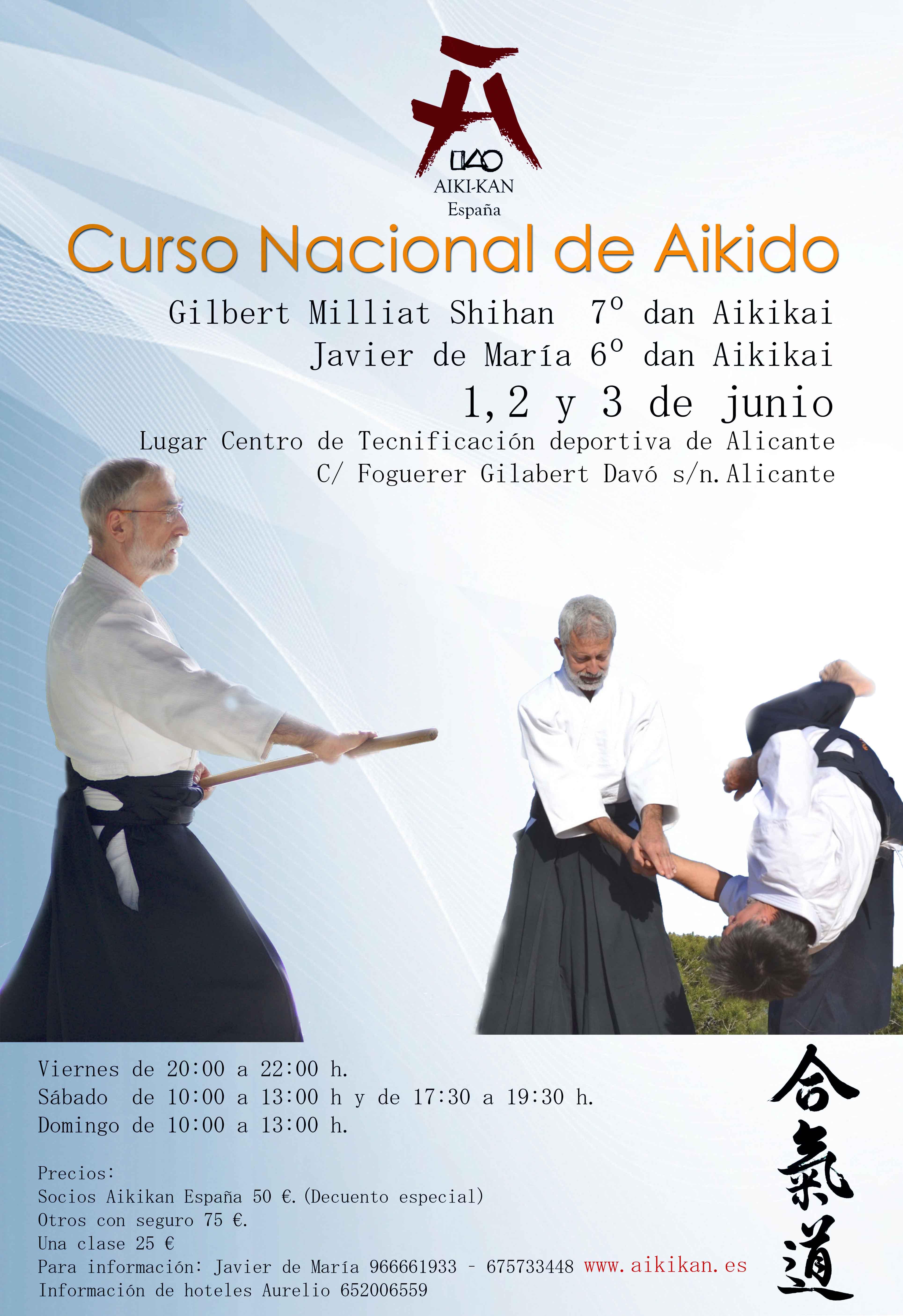 Aikido en Alicante con Gilbert Milliat 7 dan y Javier de María 6 Dan